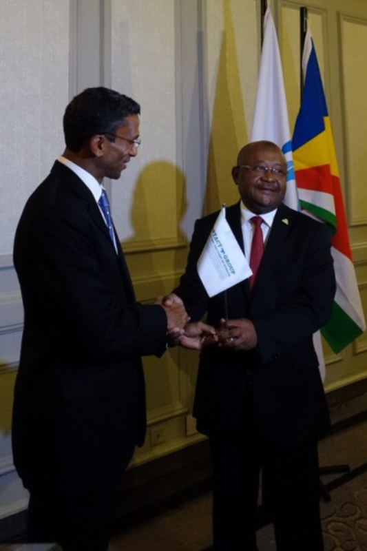 Ambassador Barry Faure, Secretary of State and Chairman-in-Office of the Contact Group, symbolically passed the baton to the IOC Presidency, represented by its Secretary General. Photo: Seychelles Nation