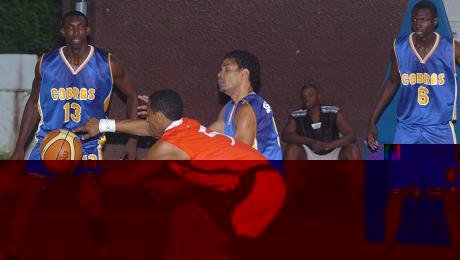Kolawole, 'Dulla' and Amadou Sylla (pictured here against MBU Rockers) led Premium Cobras in scoring against Baya