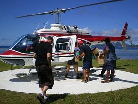 The Vev or Paradise Flycatcher are boarded on an helicopter on La Digue to be transferred to Denis, an international operation involving Nature Seychelles, Kent University, the La Digue Development Board and the Department of Environment