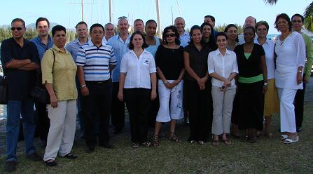 Delegates from the tourism trade shortly before taking the boat to Silhouette for the marketing meeting at Labriz