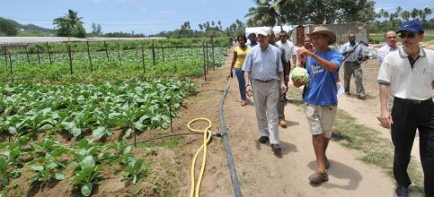 President James Michel visiting the farm of Jean-Paul Geoffroy on the Anse Royale plateau. The Government's reconsideration of the decision to site the University of Seychelles on this prime agricultural land is indicative of the seriousness attributed to issues of national significance in decision making