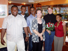 Francis Suzette, Jones Anacoura, Terrence Cedras, Monia Delpeche from the Ministry of Education and Youth, a German guide and Julianna Lalande on their German tour