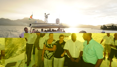 Guests enjoying a trip on the new trimaran