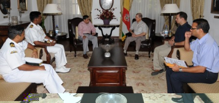 Mr Nag and his delegation during his call on President Michel yesterday at State House