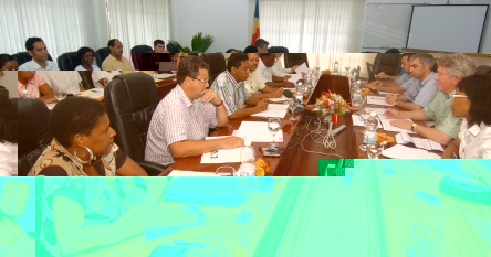 The IMF (right) and Seychelles delegations in talks yesterday