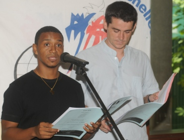 Fabien Le Dizes (right) with local poet Reuben Lespoir at the official launch of Sipay