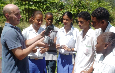 A group of English River secondary students receiving training in use of a camera to capture the impact of climate change