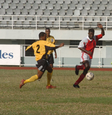 Fahidany (right) netted a hat-trick in Anse Réunion's 4-0 win over Sunshine
