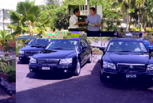 The three executive-style Hyundai XG300s. (Inset) Ambassador Lee officially hands over the car keys to Ms D'Offay