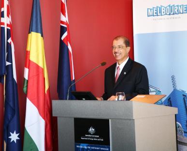 President Michel delivering his address