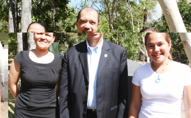 President Michelle with the two Seychellois marine science PHd students at James Cook University – Karen Chong Seng (right) and Michelle Esparon