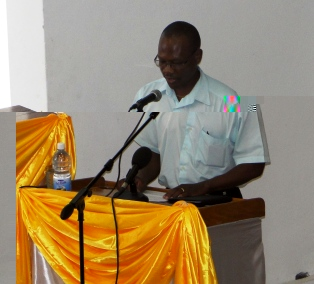 NHRDC chief executive Christian Cafrine addressing a forum