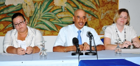 Mr Pierre, flanked by Ms Nancy (left) and Ms Monnaie at yesterday's press meet