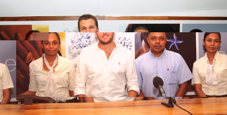 Mr Thorrington (2nd left) with his all-Seychellois managerial staff