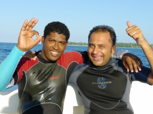 Mr Sharma (right) with Denis Island dive master Ted Charles