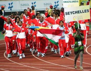 The Seychelles delegation marching at the Games' opening ceremony