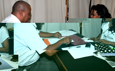 Independent candidate Jacqueline Hoareau going through nomination formalities yesterday