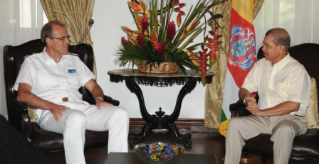 Mr Potts during his meeting with President Michel yesterday at State House