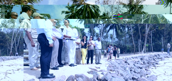 The President is briefed on projects carried out at Anse Royale to curb erosion