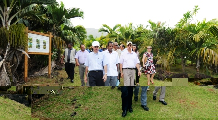 The President and his delegation touring the Barbarons Biodiversity Centre