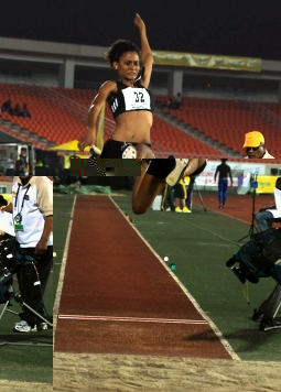 Labiche in action in the long jump