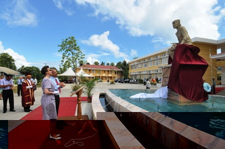 Princess Anne and President Michel after they had unveiled a statue of Plato marking the official opening of the University of Seychelles