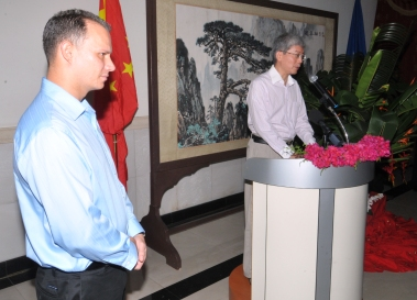 Mr Wang addressing guests at Friday's ceremony. On the left is Mr Adam