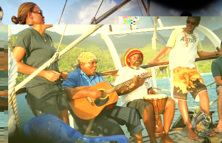 David and friends entertaining guests on last Friday's sunset cruise