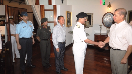 President Michel welcoming the delegation from the Indian National Defence College