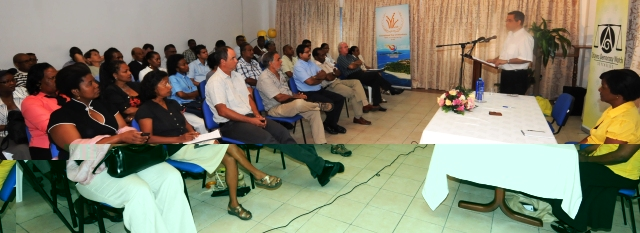 Mr Lalande presenting the report on behalf of the Citizens Democracy Watch Seychelles