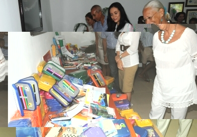 Guests viewing the items after the hand-over ceremony