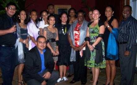 Ms Vegting with the group of Seychellois who have been awarded Australian Development Scholarships