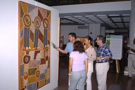 Guests viewing the exhibition shortly after its official opening on Monday
