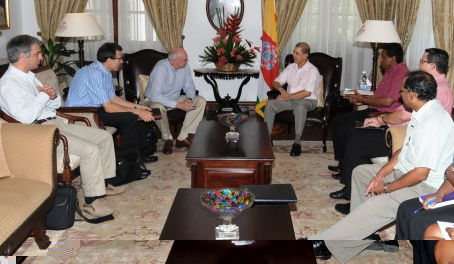 The IMF delegation (left) during their meeting with President Michel yesterday at State House