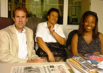 Mr Fitrell, Mrs Ernesta and US public affairs officer Vanessa Harper at the Seychelles Nation offices during the interview (Photo by G.T.)