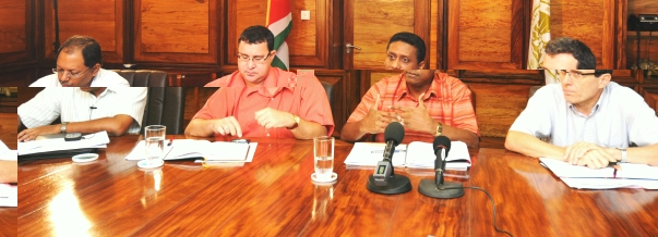 (From l to r) Mr Afif, Governor Laporte, Minister Faure and Mr Le Dem at yesterday's press conference