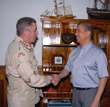President Michel (right) welcoming General Abizaid at State House on Thursday