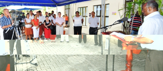 Mr Rosalie addressing guests and delegates at the launch of the competition and workshop yesterday