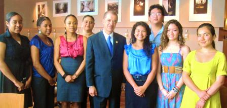 President Michel with several young Seychellois students who are studying in Western Australia at various universities
