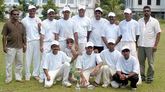 Muditha (standing first right) of sponsor Double Click poses with members of the Vijay team