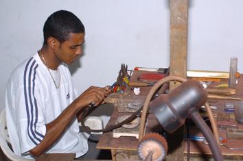 Jocelin Padayachy, registered as a goldsmith, in his workshop
