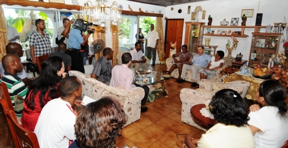 President Michel meeting the hostages' families yesterday at Belvedere