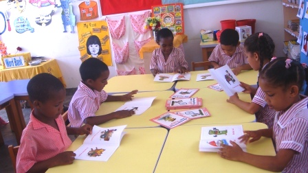 Primary one pupils during a reading session