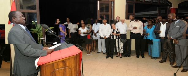 Mr Gimolica addressing the guests during Thursday night's reception