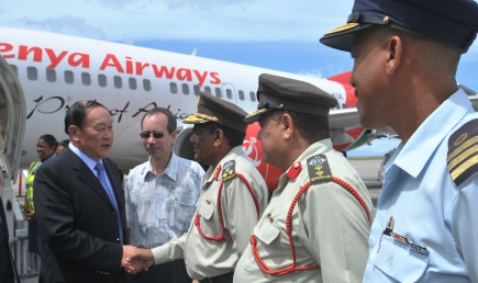 General Liang (left) on arrival at the Seychelles International Airport yesterday