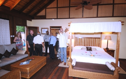 Guests visiting the interior of one of the villas