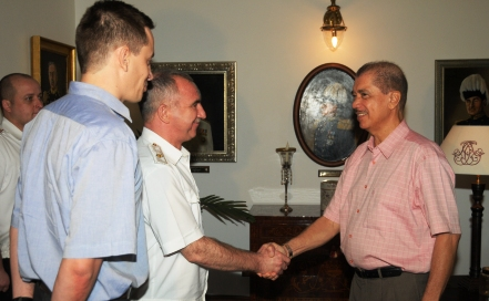 President Michel welcomes Rear Admiral Lyashok at State House