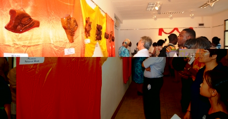 Guests admiring some of the masks on display
