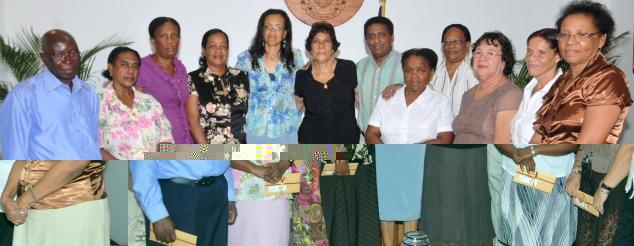 The retiring teachers in a souvenir photograph with VP Faure, Ms Esparon, Mrs Simeon and Mrs Delcy