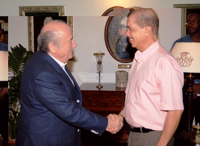 President Michel welcomes Mr Blatter at State House